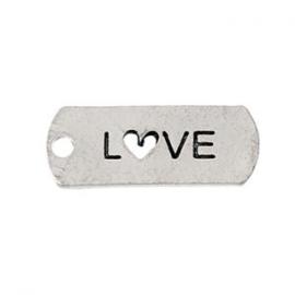 2 x Metalen Bedel Antiek Zilver Love maat: 21x8 mm ♥