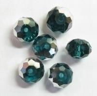 10 Stuks Glaskraal facet kristal smaragdgroen met zilverkleuri 8 mm