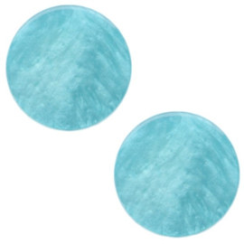 1 x 12 mm platte cabochon Polaris Elements Mosso shiny Lagoon blue