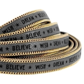 20 cm Quote imi leer 10mm met schakelketting goud Wish dream believe Cool grey