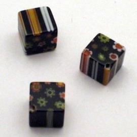 10 stuks Miliifiori glaskraal 10mm gat: 1mm gat diagonaal