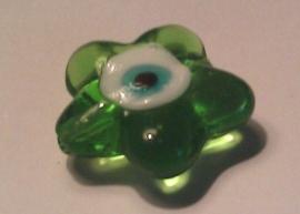 Per stuk Glaskraal bloemmotief met Nazar geluksoog transparant groen 21 mm