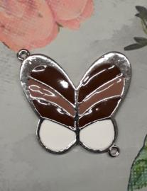 1x Prachtige metalen connector: vlinder zilverkleur met roze rood en wit 40x36mm oogje 1mm