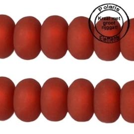 Per stuk Polaris kralen matt disc 8mm Red Magma groot gat 2,5mm
