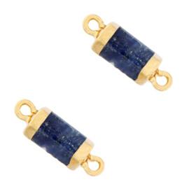 1 x  Natuursteen hangers tussenstuk hexagon Blue white-gold Lapis Lazuli
