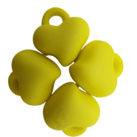 5 x Acryl bedel hart Geel 15 x 15 x 10mm; gat 3mm