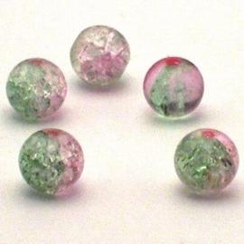 30 stuks crackle glas kralen 8mm licht roze groen