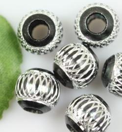 10 x Prachtige zwarte aluminium kraal 14mm