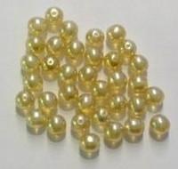 Glas-set transparant goud-geel met mooie parelmoer glans in 3 maten 10 mm, 8 mm en 6 mm  c.a. 60~70 gram