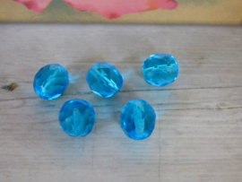 1x Blauwe facet glaskraal ca. 9.5 x 10.5mm  Gat: 1m