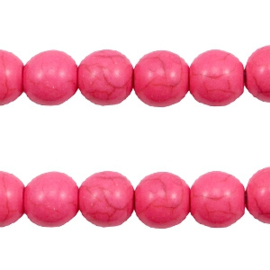 5x Keramiek turquoise kralen rond 8mm Hot pink