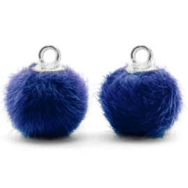 2 x Pompom bedels met oog faux fur 12mm Denim blue-silver