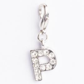 Be Charmed letter P bedel met karabijnsluiting zilver met een rhodium laag (nikkelvrij)