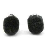 2 x Pompom bedel met oog zilver 15mm Anthracite black