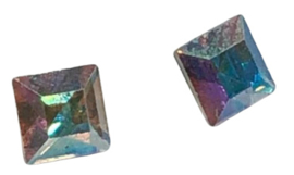 2x Precosia punt kristal Vierkant AB 4 mm