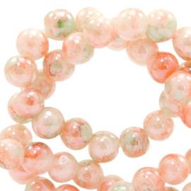 15 stuks Glaskraal gemêleerd 8 mm Peach orange-green