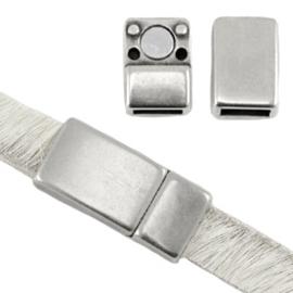 DQ metaal magneetslot voor 5 / 6 mm plat leer Antiek zilver (nikkelvrij)  17x8mm (Ø 6mm)