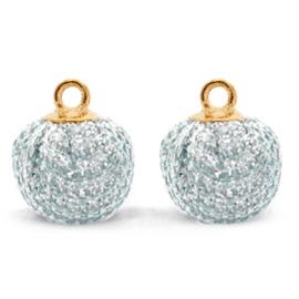 2 x Nieuw! Pompom bedels met oog glitter 12mm Blue silver-gold