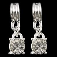 Prachtige verzilverde bedel met kristal strass 8 x 22 x 5mm, gat c.a. 5mm
