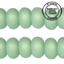 Per stuk Polaris kralen matt disc 8mm Crysolite green groot gat 2,5mm