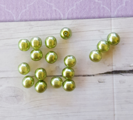 Nieuw! 30 x transparante DQ glasparel 6mm kleur: Olive