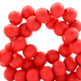 40 x Houten kralen rond 6 mm Scarlet red
