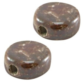 1 x DQ Griekse keramiek kralen 13mm rond plat Smoke topaz bruin ca. 13 mm Ø 2.5 mm
