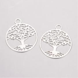 2  x Tibetaans zilveren tree of life bedeltje van een levensboom 24 x 20 x 0,5mm oogje: 3mm verzilverd