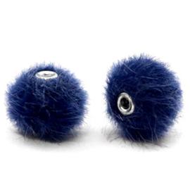 Pompom kralen faux fur 12mm Dark blue