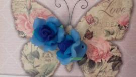 10x Fimo Roosje blauw kraal Ca. 20x12mm Gat: 2mm