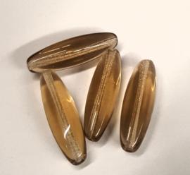 Per stuk glaskraal ovaal bruin 24 mm x 7 mm gat 1 mm