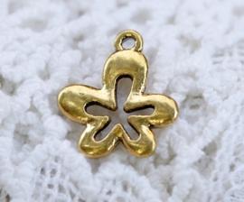 6 x Tibetaans zilveren bedeltje van een bloem 17 x 15 x 2mm gat: 1,5mm goud kleur