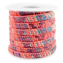 20 cm Trendy gestikt koord 6x4mm Multicolor neon coral pink