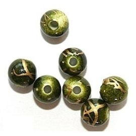 c.a. 75 stuks 6mm Ronde drawbench acryl kralen met goud bewerkt groen