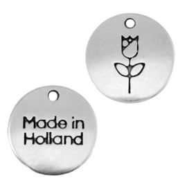 "2 x DQ metalen bedels 12mm ""made in Holland"" tulp Antiek zilver (nikkelvrij)"