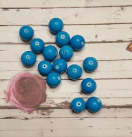 10 stuks Keramische glaskralen  12mm blauw