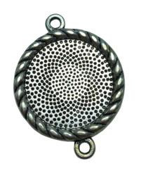 1 x Tibetaans Zilveren cabochon houder N tussenzetsel binnenzijde: 20 mm
