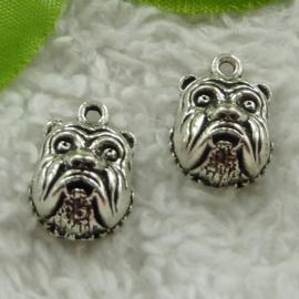 4 x Tibetaans zilveren bedeltje van een bulldog 18x13mm