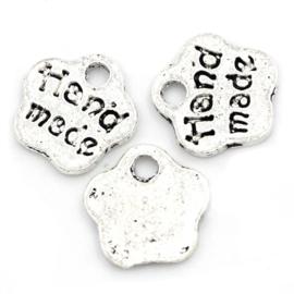 10 stuks tibetaans zilveren kleine bedeltjes hand made 8 x 8 x1 mm Gat: 1,5mm