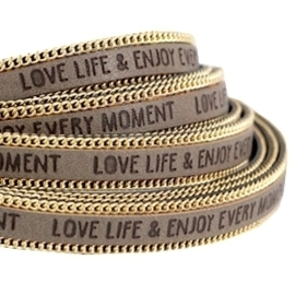 20 cm Quote imi leer 10mm met schakelketting goud Love life Terra brown ♥