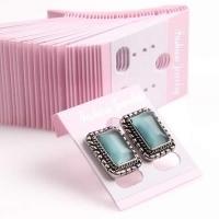 50 plastic kaartjes voor oorbellen  30 x 40mm roze