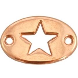 1x DQ metaal bedel twee ogen ovaal ster Rosé goud 20x13 mm