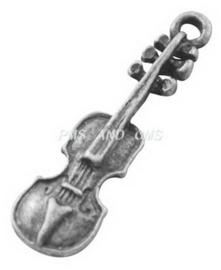 10x Tibetaans zilveren bedel van een viool 37 x 12 x 2mm, gat: 2mm