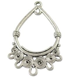 2 stuks tibetaans zilveren oorbellen ornamenten 39 x 23,5 x 3mm- gat 1,5 mm
