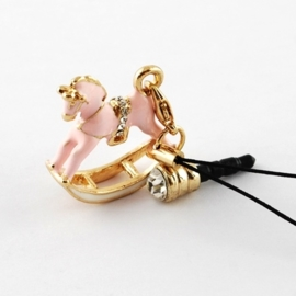 Schitterende sleutelhanger / tashanger hobbelpaard strass roze 90 x 26 x 8 mm