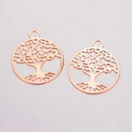 2 x Tibetaans zilveren tree of life bedeltje van een boom 24 x 20mm oogje: 3mm rose gold