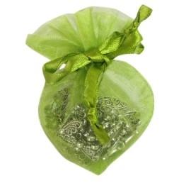 20 stuks luxe hartvormige organza zakjes 10cm x 8.75cm lime