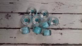 10 Stuks Glaskraal ton licht blauw9 mm