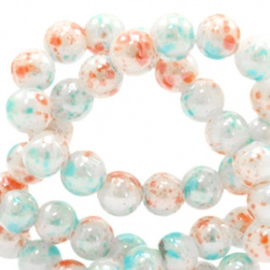 20 stuks 6 mm glaskralen gemêleerd Coral-white blue
