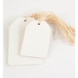 100 stuks blanco witte labels prijskaartjes voorzien van ponsgat en versterkingsoog, 60 x 120mm zonder koordje